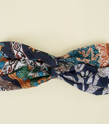Navy Paisley Print Twist Headband