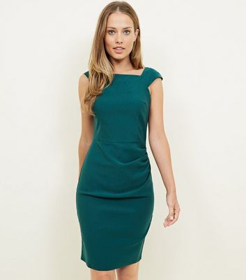 Apricot Green Side Ruched Dress