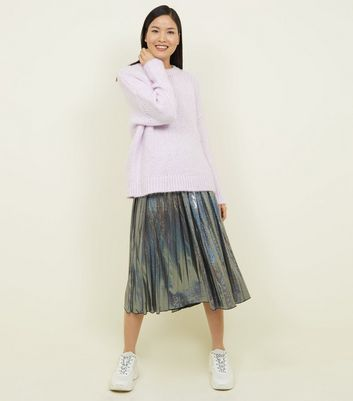 Blue Vanilla Silver Glitter Metallic Midi Skirt by New Look