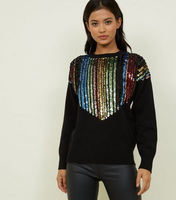 Blue Vanilla Black Rainbow Sequin Yoke Jumper