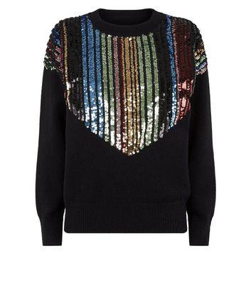 Blue Vanilla Black Rainbow Sequin Embellished Jumper New Look