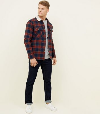 Red Check Borg Collar and Lined Shirt