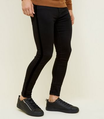 Black Velvet Side Stripe Super Skinny Jeans