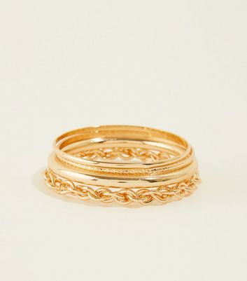 Gold Chain Embossed Bangle Stack