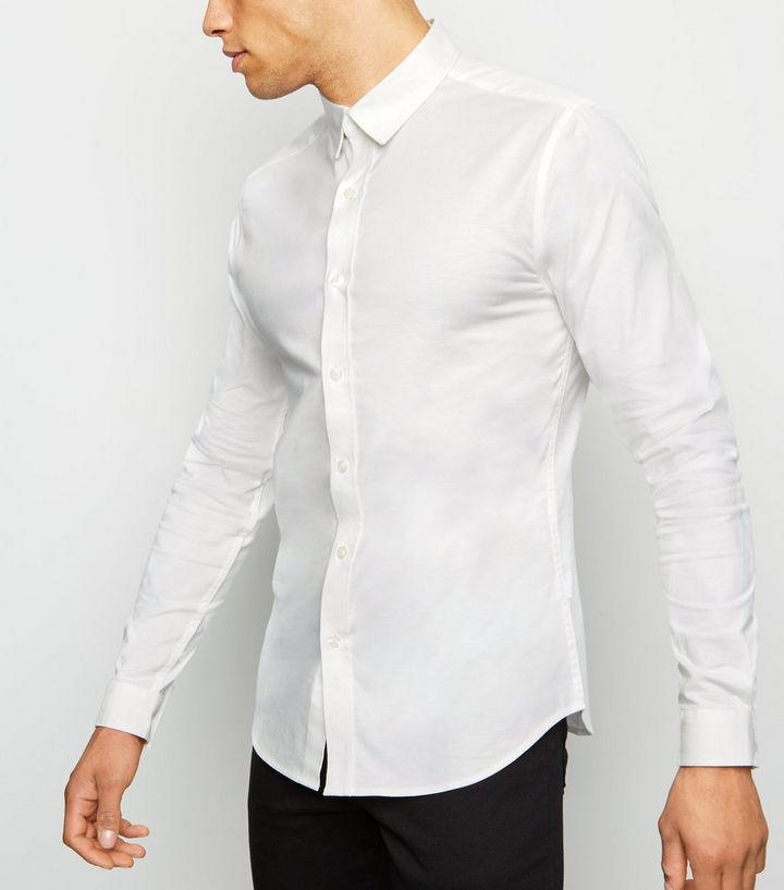 a89e9129 White Long Sleeve Muscle Fit Oxford Shirt | New Look