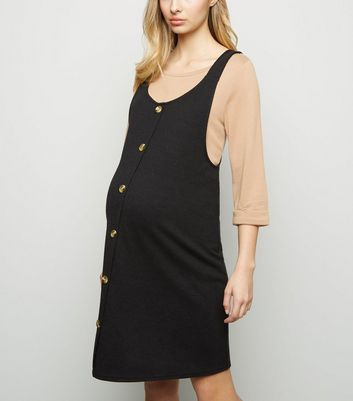 Maternity Black Cross Hatch Button Front Pinafore Dress