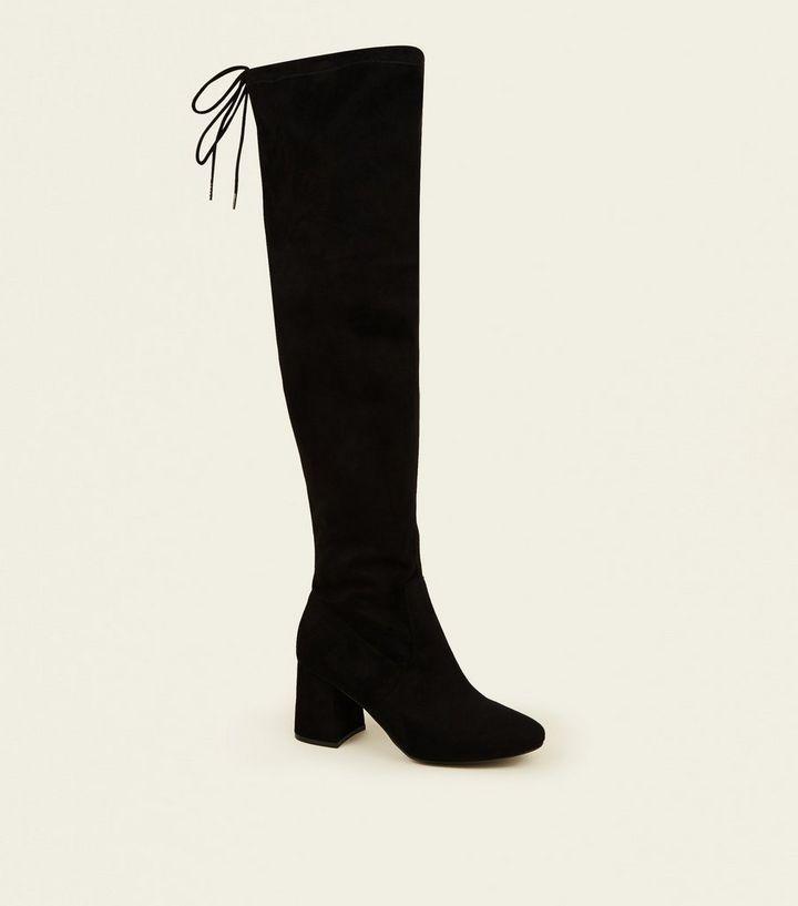 9978af553013 Wide Fit Black Suedette Flared Heel Over The Knee Boots