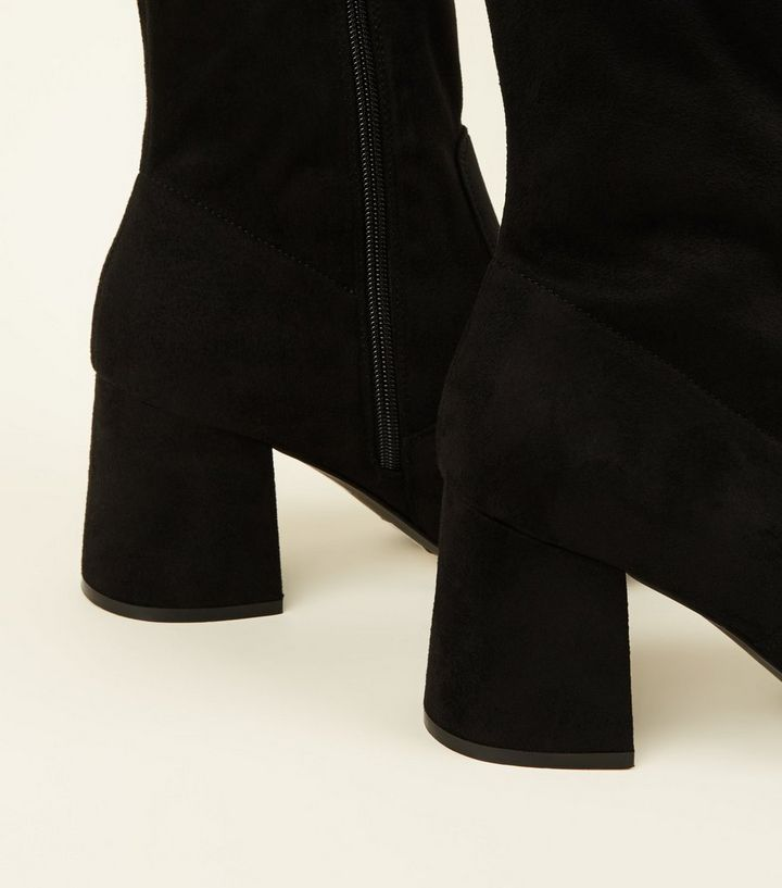 e5c3aa659697 ... Black Suedette Flared Heel Over The Knee Boots. ×. ×. ×. Shop the look