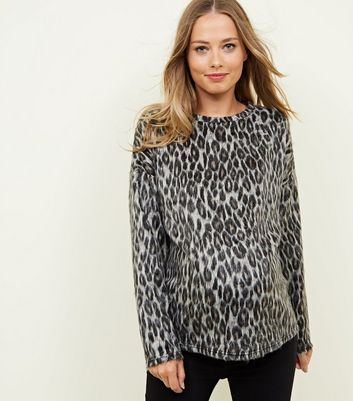 Maternity Brown Brushed Fine Knit Leopard Print Top