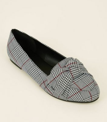Wide Fit Black Houndstooth Check Bow Front Loafers