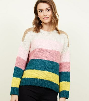 Multi Coloured Stripe Chunky Knit Jumper