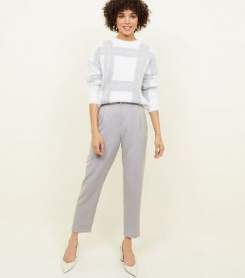 Pale Grey Tapered Pull-On Trousers