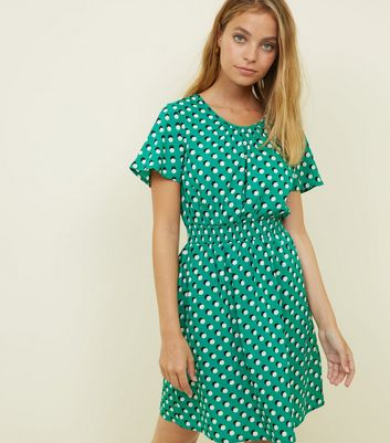 Petite Green Spot Print Shirred Waist Dress