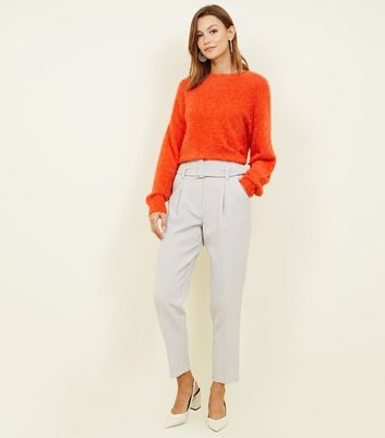 Pale Grey Buckle Belted High Waist Trousers
