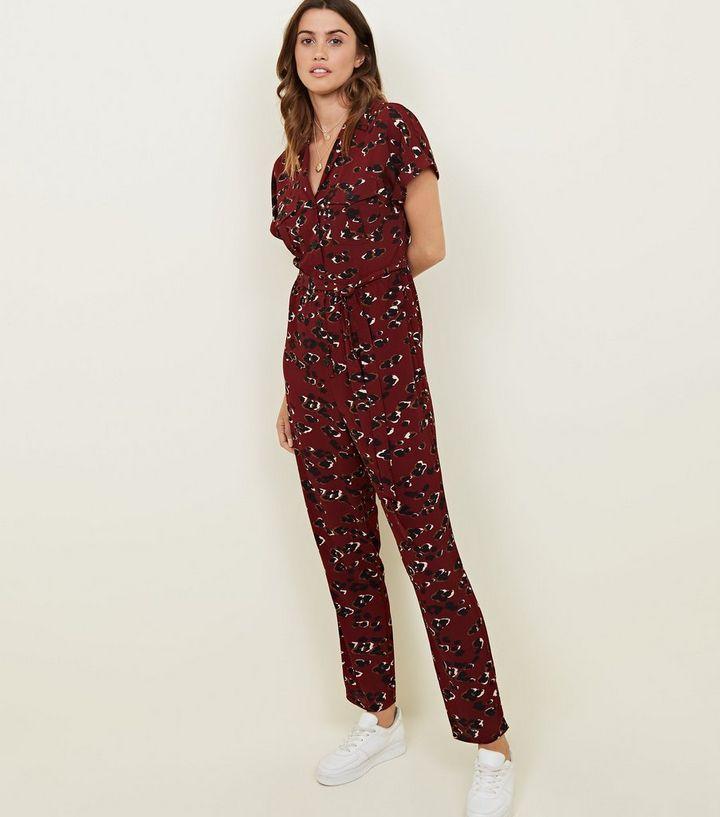 867019b9317 Tall Burgundy Leopard Print Jumpsuit
