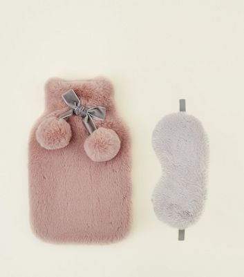 Pale Pink Hot Water Bottle and Eye Mask Set