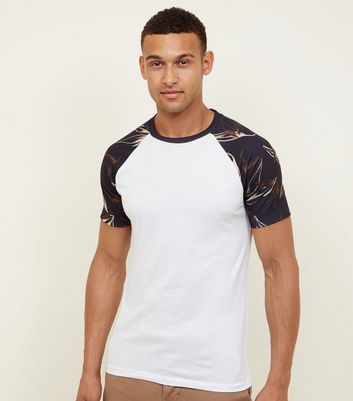 White Chalk Leaf Print Muscle Fit T-Shirt