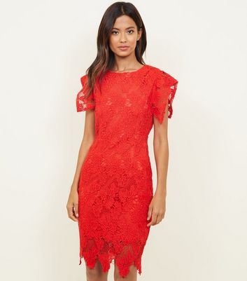AX Paris Red Crochet Lace Bodycon Dress