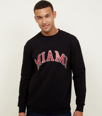 Black Miami Slogan Crew Sweatshirt