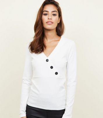 White Wrap Button Front Long Sleeve Top