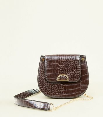 Dark Brown Faux Croc Saddle Bag