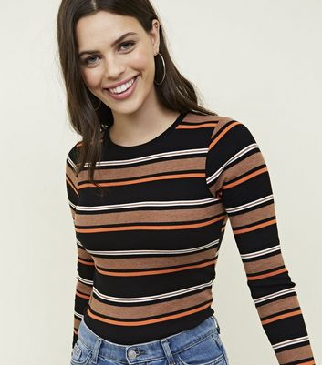 Brown Stripe Ribbed Long Sleeve Top
