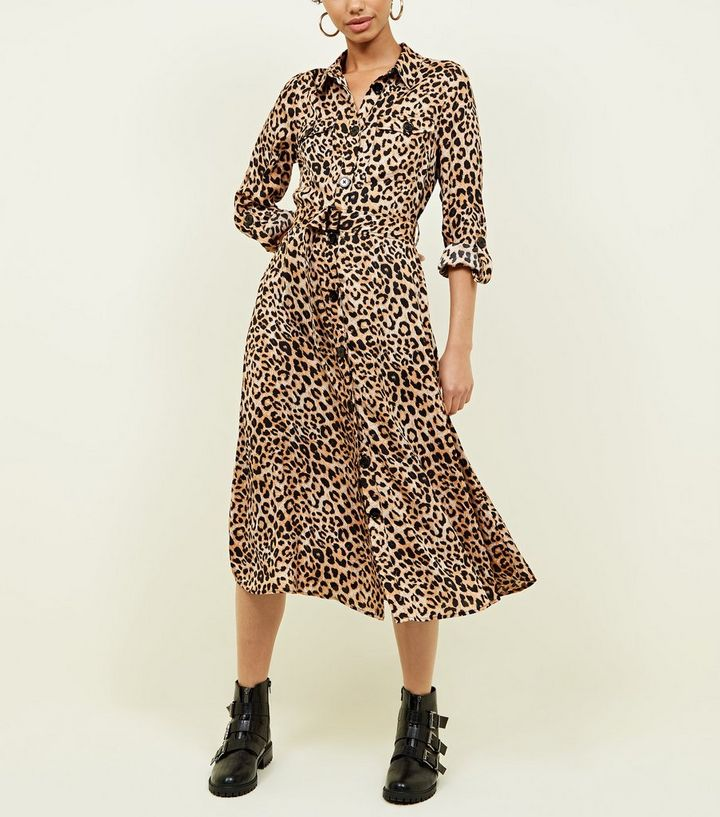 f06c3cd4b2ea Brown Leopard Print Satin Midi Shirt Dress   New Look