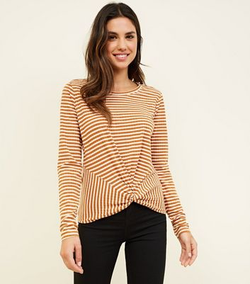 White Stripe Twist Hem Long Sleeve T-Shirt