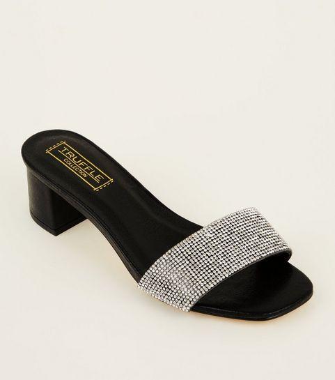 d6c35b53bb5 Black Diamanté Strap Heeled Mules · Black Diamanté Strap Heeled Mules ...
