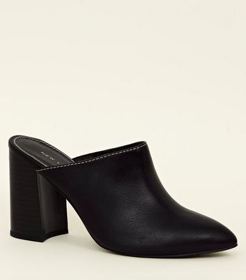 Black Flared Block Heel Mules