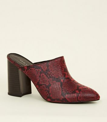 Red Faux Snakeskin Block Heel Mules