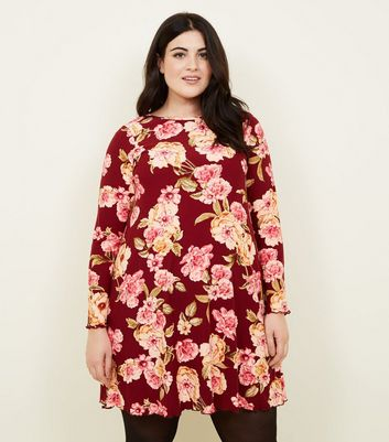 Curves Red Floral Print Long Sleeve Dress