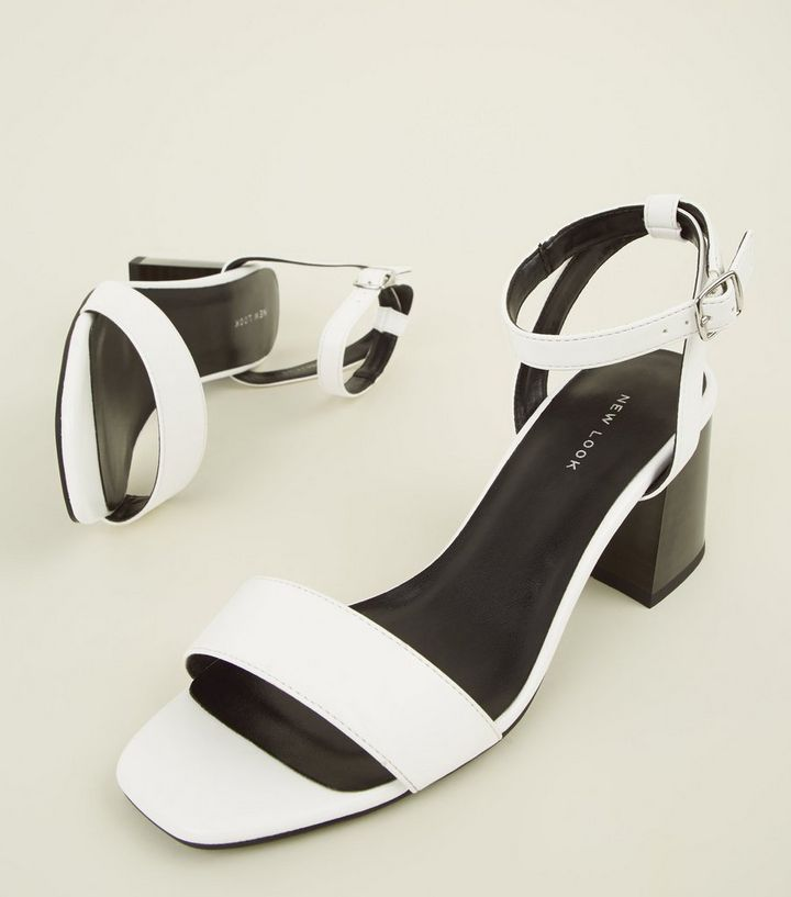 9aeeb87f0537 ... White Strappy Flare Heel Block Sandals. ×. ×. ×. Shop the look