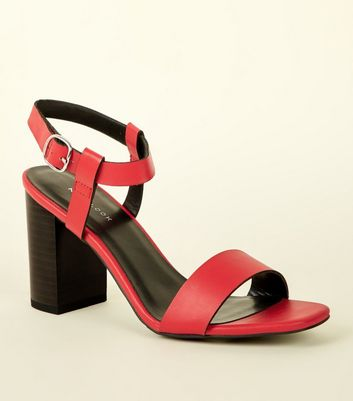Red Leather-Look Block Heel Sandals