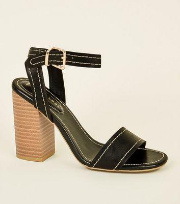 Black Contrast Stitch Block Heel Sandals by New Look