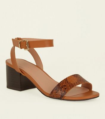 Brown Faux Snakeskin and Leather-Look Heeled Sandals