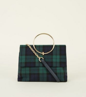 Green Check Print Ring Handle Shoulder Bag