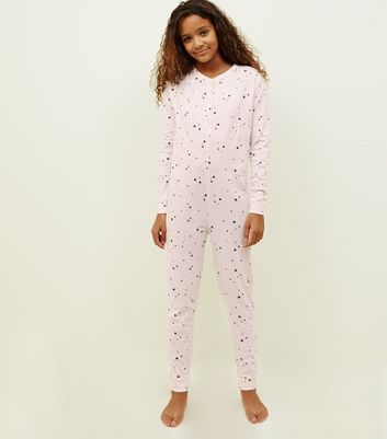 Girls Light Grey Star Print Jersey Onesie