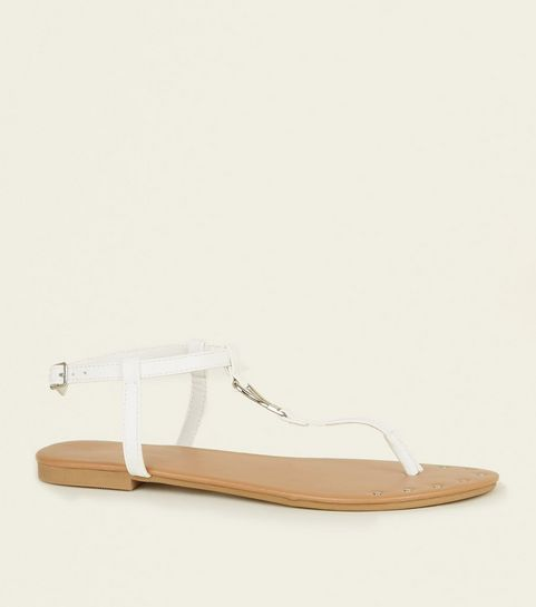 98029e499b5ca White Studded Front Sandals · White Studded Front Sandals ...