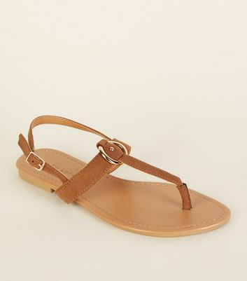 Tan Suedette Between Toe Sandals by New Look