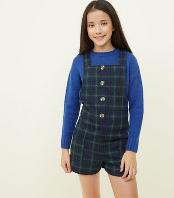 Girls Blue Check Button Front Dungarees