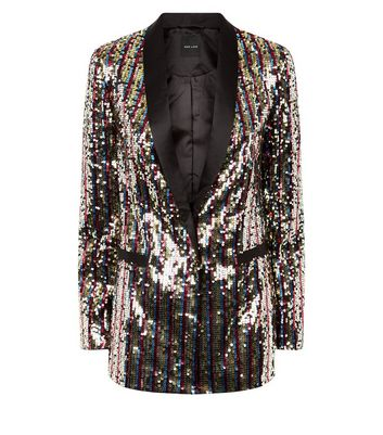 hot-selling genuine professional design best prices Rainbow Sequin Satin Collar Blazer Add to Saved Items Remove from Saved  Items