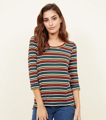 Multi Coloured Stripe Fine Knit 3/4 Sleeve Top