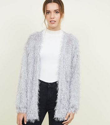 Pale Grey Fluffy Fine Knit Cardigan