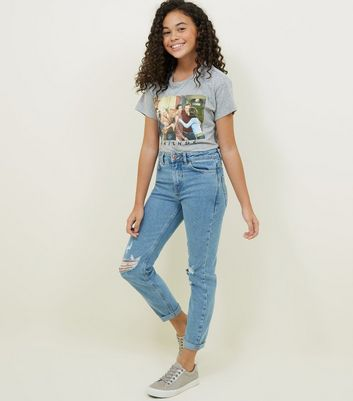 Girls Blue Ripped Stretch Mom Jeans
