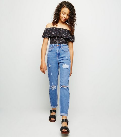 6ac726ed5 ... Girls Bright Blue Ripped Stretch Mom Jeans ...