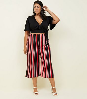 Curves Red Bold Stripe Culottes