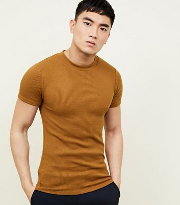 Rust Muscle Fit Ribbed T-Shirt