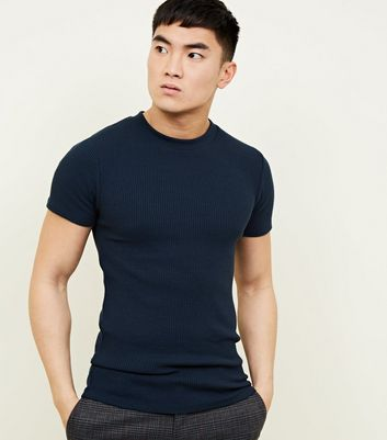 Teal  Muscle Fit Ribbed T-Shirt