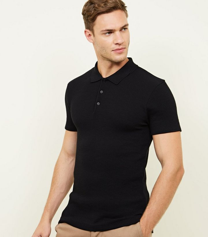 7f665df0 Black Muscle Fit Ribbed Polo Shirt | New Look